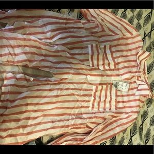 F21 red white striped button up blouse
